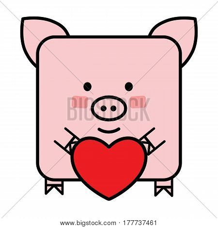 Pig emoji with a heart, valentine icon of a piglet