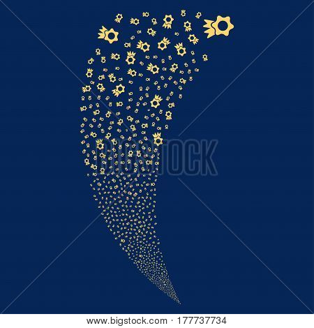 Award random fireworks stream. Vector illustration style is flat yellow iconic symbols on a blue background. Object fountain constructed from scattered icons.