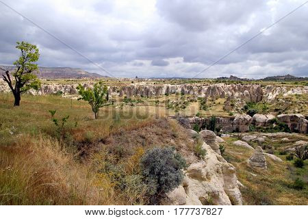 Travel To Goreme, Cappadocia, Turkey. The View On The Valley In The Mountains.