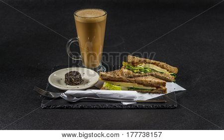 Set Consisting Of Two Sandwiches  Malted Bread With Vintage Cheddar Cheese, Pickles, Red Onion, Toma