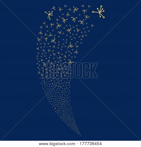 Big Bang random fireworks stream. Vector illustration style is flat yellow iconic symbols on a blue background. Object fountain made from scattered pictographs.