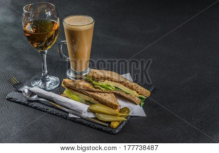 Set Consisting Of Two Sandwiches Malted Bread With Vintage Cheddar Cheese, Pickles, Red Onion, Tomat
