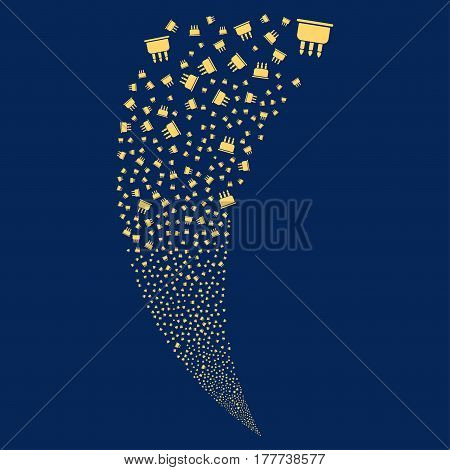 Birthday Cake random fireworks stream. Vector illustration style is flat yellow iconic symbols on a blue background. Object fountain created from scattered icons.