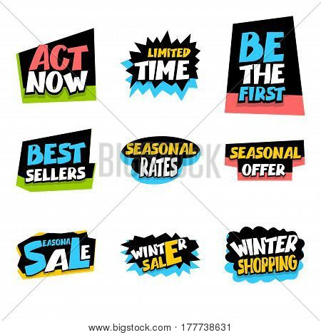 Winter sticker rates. Collection sale advertising web label badge. Vector set illustration offer best price and discount. Special offer tag colored paper banner for print.