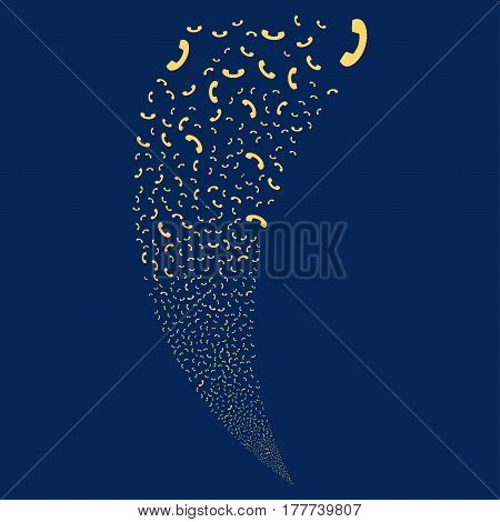 Call random fireworks stream. Vector illustration style is flat yellow iconic symbols on a blue background. Object fountain constructed from scattered pictograms.