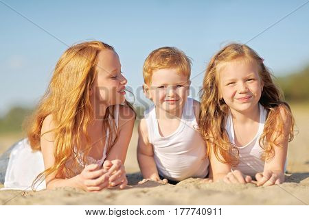 Portrait Of A Boy And His Two Sisters Loved