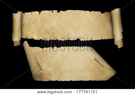 Two antique scrolls of parchment. Scrolls with torn edges and curled corners on black background.