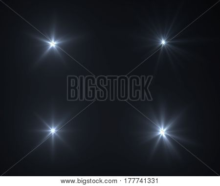 Realistic digital lens flare effects in black background