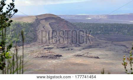 Old Crater In Volcanoes National Park, Big Island Of Hawaii