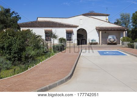 Trujillanos Spain. March 15 2017: Centre of visitors of Cornalvo Natural Park Trujillanos Extremadura Spain