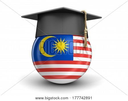 3D Illustration. Graduation cap and Malaysia flag. Image with clipping path