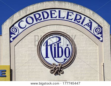 Badalona Spain - March 20 2017: Historic facade of Can Ribo modernist mosaic work of 1826 mosaic by Lluis Bru considered one of the modernist jewels of the city