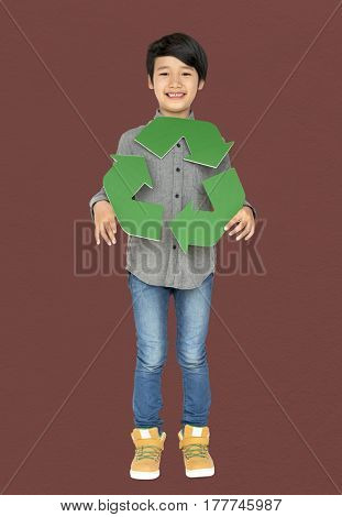 Little Boy Holding Recycle Symbol Studio Portrait