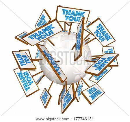 Thank You Signs Appreciation Recognition Sphere 3d Illustration