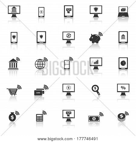 Online banking icons with reflect on white background, stock vector