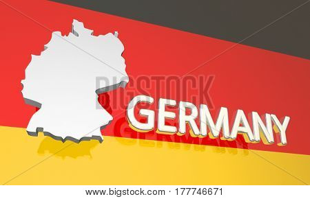 Germany Country Nation Map Europe 3d Illustration
