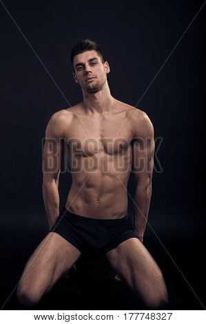 One Young Man, Kneeling Sexy Handsome Abs Fit, Shirtless Body