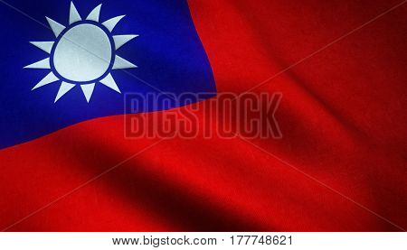 Realistic Flag Of Taiwan