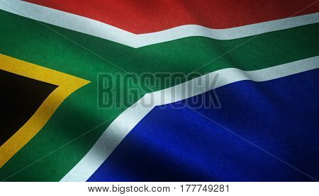 Realistic Flag Of South Africa