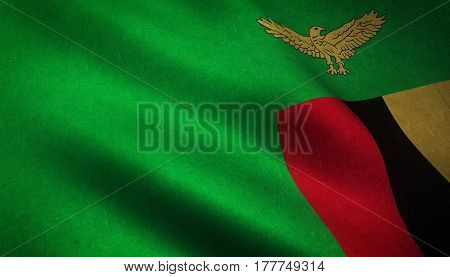 Realistic Flag Of Zambia