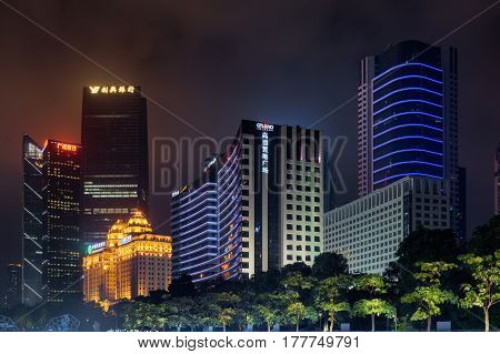 Night View Of Modern Buildings, The Zhujiang New Town, Guangzhou