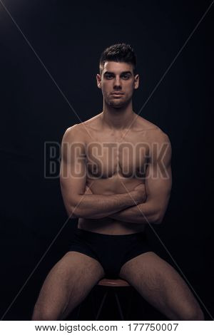 One Young Man, Shirtless Body Posing Sitting