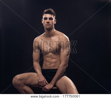 One Young Man, Shirtless Body Sitting Fit Handsome
