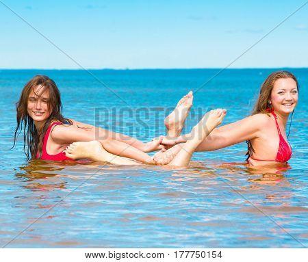 Beach Models Couple Enjoying