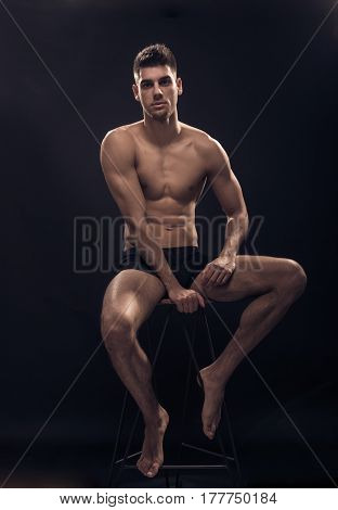 One Young Man, Shirtless Body Sitting, Handsome