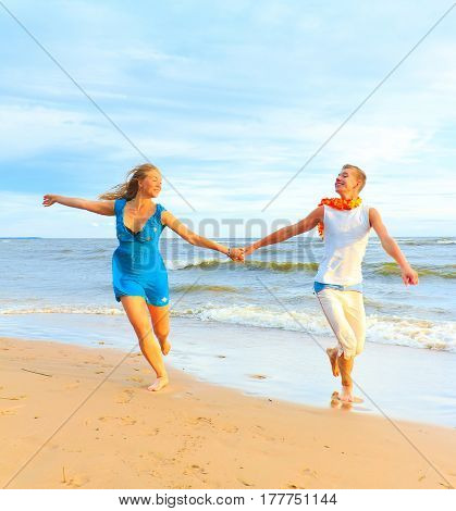 Vacation Couple Running