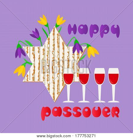 Happy Passover. Fancy hand drawn letters greeting. Matzah for spring Pesach holiday celebration. Seder wine, David star traditional symbol Jewish kosher dinner decoration. Vector invitation background