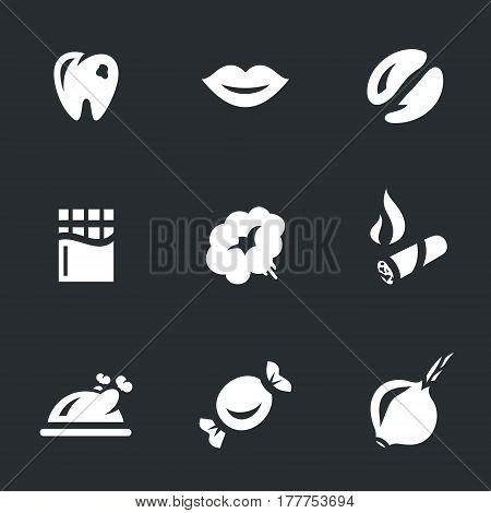 Tooth, lips, coffee, chocolate, smoke, smoking, food, candy, onion.