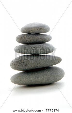 pile of balanced zen stones isolate