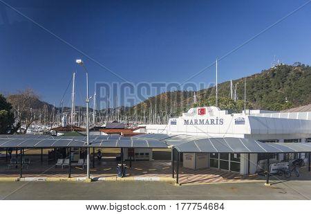 MARMARIS, TURKEY, 16TH FEBRUARY 2017 - Terminal building of Marmaris cruise port