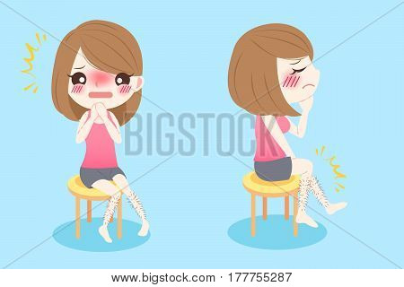 cute cartoon woman with leg hair problem on blue background