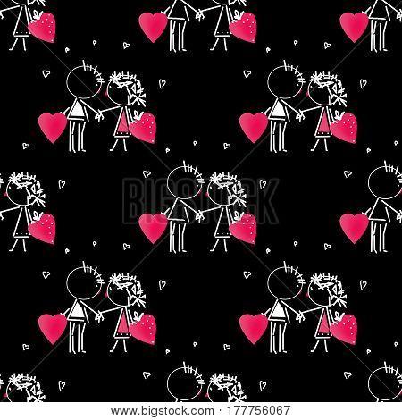 Valentines Day kiss cartoon romantic people in love illustration