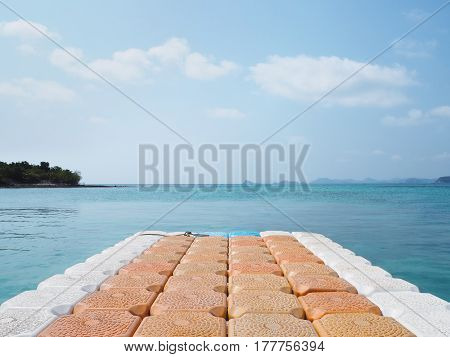 plastic floating pier on sea at summer beach