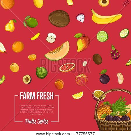 Fresh organic fruit poster vector illustration. Natural product, juicy fruit, healthy nutrition, organic farming, vegan food. Pineapple, melon, pomegranate, peach, coconut, plum, avocado, banana