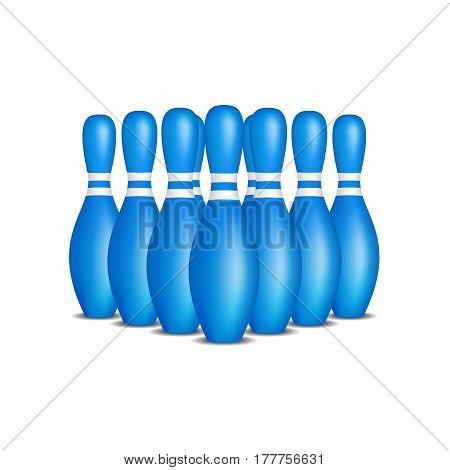 Bowling pins in blue design with white stripes standing in formation on white background