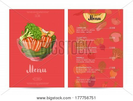 Vegetarian restaurant food menu design vector illustration. Vegan cafe menu, price page of vegetarian nutrition, organic food shop, healthy diet catalog. Menu card template with vegetable elements