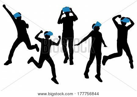 silhouette of man wear VR-headset glasses with white background