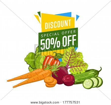 Discount sale poster with fresh vegetable vector illustration. Natural product shop, locally grown, vegetarian nutrition offer, organic healthy food retail poster with radish, pepper, cucumber, carrot