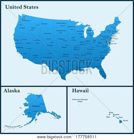 The detailed map of the USA including Alaska and Hawaii. The United States of America with the capitals and the biggest cities