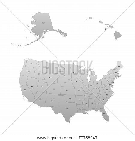 Detailed map of the United States, including Alaska and Hawaii. United States with each state abbreviation