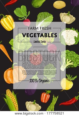 Farm fresh vegetable banner vector illustration. Natural growing, organic farming retail, vegan product store poster. Healthy food advertising with pepper, radish, cabbage, carrot, eggplant, pumpkin