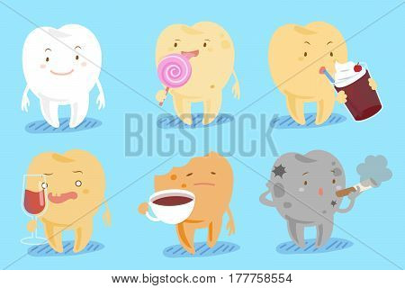 cute cartoon tooth with decay problem on blue background