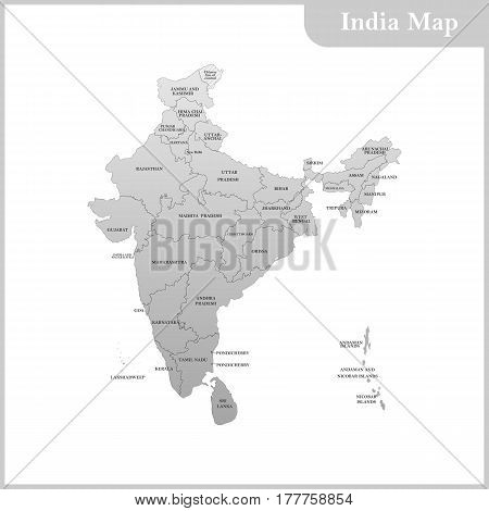 The detailed map of the India with regions and Sri Lanka