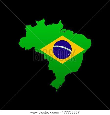 The detailed map of the Brazil with flag