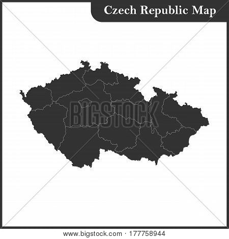 The detailed map of the Czech Republic with regions