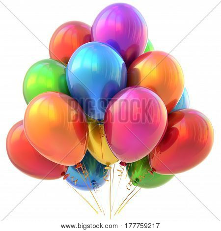 Party balloons happy birthday carnival decoration glossy colorful multicolored.  3D illustration isolated
